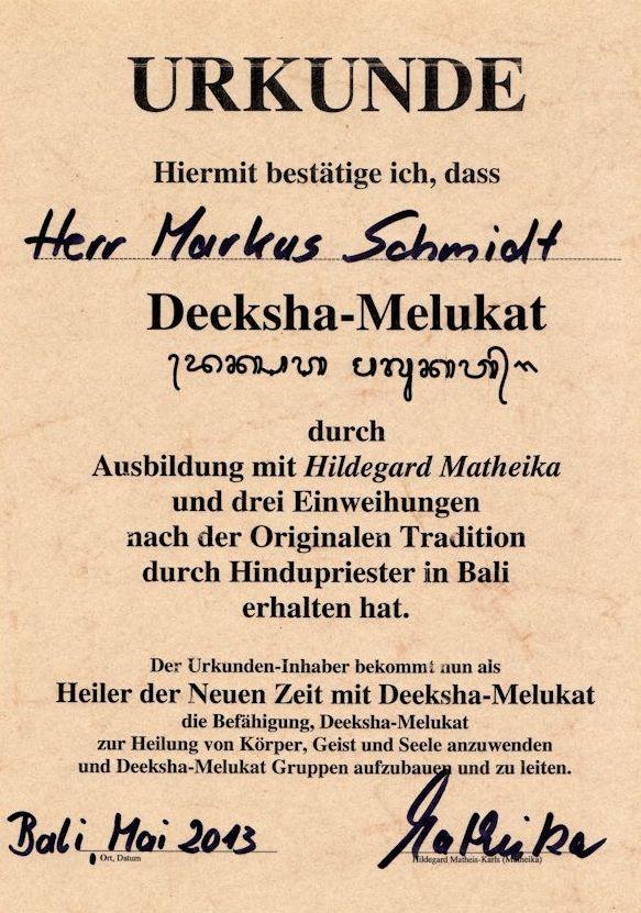 Deeksha-Melukat-Urkunde
